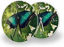 Schmetterling - Lautlose Wanduhr mit Fotodruck auf