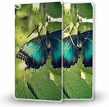 Schmetterling - Lautlose Wanduhr mit Fotodruck auf Polycarbonat | geräuschlos kein Ticken Fotouhr Bilderuhr Motivuhr Küchenuhr modern hochwertig Quarz | Variante:30 cm x 60 cm mit schwarzen Zeigern - GERÄUSCHLOS
