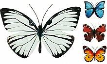 Schmetterling Metall Wand Deko Bunt Garten Wandschmuck Falter Schmetterlinge, Farbe:Weiß, Größe:30 cm