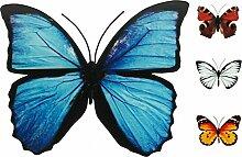 Schmetterling Metall Wand Deko Bunt Garten Wandschmuck Falter Schmetterlinge, Farbe:Blau, Größe:40 cm