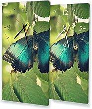 Schmetterling - Moderne Wanduhr mit Fotodruck auf Leinwand Keilrahmen   Fotouhr Bilderuhr Motivuhr Küchenuhr modern hochwertig Quarz   Variante:30 cm x 60 cm mit schwarzen Zeigern