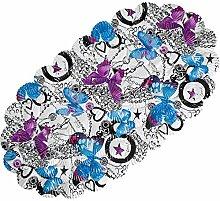 Schmetterling Ovale Duschmatte Badematte,starke rutschfeste mit die Sicherheitssaugnäpfe Muschel Cartoon Muster ideal Geschenk für die Kinder waschbar in Waschmaschine 66x36.3 CM