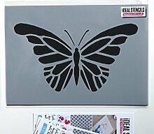 Schmetterling Schablone Heim Wand Dekor Farbe Wände Stoff und Möbel wiederverwendbar Kunst Handwerk - halb geschliffen Durchsichtig Schablone, XL/44X78CM