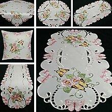 Schmetterling Tischdecke/Tischläufer/Kissenhülle Weiß mit rosa Blumen Stickerei - Größe wählbar (ca. 85 x 85 cm Eckig)