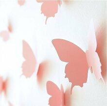 Schmetterling-Wandaufkleber in 3D, PINK Butterfly Wandsticker, Vinyl, Selbstklebend, Motiv Vivid Home Shop Dekoration / Heimwerken