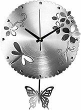 Schmetterling-Wanduhr , silver