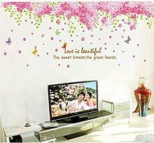 Schmetterlinge rosa Blumen grünen Blättern englischen Buchstaben Wand Aufkleber PVC Home Aufkleber House Vinyl Papier Dekoration Tapete Wohnzimmer Schlafzimmer Kunst Bild DIY Wandmalereien Mädchen Jungen Kids Kinderzimmer Baby
