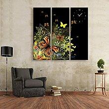 Schmetterlings-Wanduhr Rahmenlose Dekoration Schmetterlinge und Blumen Leinwand gemalt Wanduhr , 24*70cm