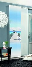 SCHMIDTGARD STOFFE Schiebevorhang Barbuda mit Meerblick Motiv Digitaldruck