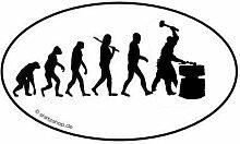 Schmied Schmiede Hammer Amboss EVOLUTION Aufkleber