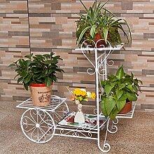 Schmiedeeisen Blütenschichten, Boden Innenblumen Balkon, Europäische Garten Regal, Pflanze stehen ein paar Blumenständer (70 * 25 * 65cm) ( Farbe : Weiß )