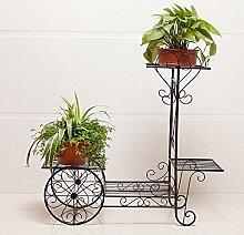 Schmiedeeisen Blütenschichten, Boden Innenblumen Balkon, Europäische Garten Regal, Pflanze stehen ein paar Blumenständer (70 * 25 * 65cm) ( Farbe : Schwarz )