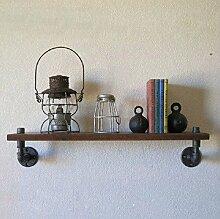 Schmiedeeisen Wand-Wand Vintage kreativen Sanitär Küche solide Holz Fächerregale rack,80 * 20cm