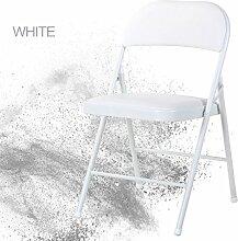 Schmiedeeisen zurück Klappstuhl einfachen tragbaren Stuhl Studentenwohnheim Computer Stuhl Büro Training Konferenzstuhl Home Dining Stuhl kann tragen 235kg ( Color : Weiß )