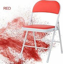 Schmiedeeisen zurück Klappstuhl einfachen tragbaren Stuhl Studentenwohnheim Computer Stuhl Büro Training Konferenzstuhl Home Dining Stuhl kann tragen 235kg ( Color : Red )