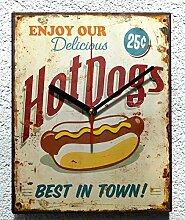 Schmiedegarten Wanduhr Hot Dogs aus Metall im
