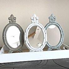 Schminkspiegel LIS 3 Farben oval Tischspiegel Shabby Vintage Nostalgie Landhaus (hellblau)