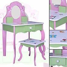 SCHMINKTISCH #426 Kinderschminktisch Kindertisch Frisierkommode Prinzessin Spiegel Frisiertisch Hocker habeig®