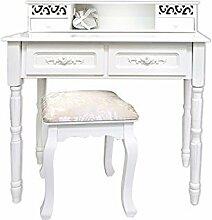 Schminktisch Sekretärin Schreibtisch Konsole Tisch glänzend weiß gepolster Hocker enthalten bequem sitz raffiniert und dekoriert Elegant chic Modern (Kode RE4169)