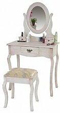 Schminktisch weiß antik Barock Hocker Manikürtisch Kosmetiktisch Spiegelkommode