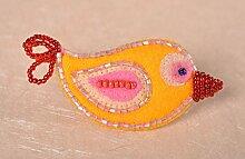 Schmuck Brosche Handmade Geschenk fur Frauen Accessoires fur Frauen Vogel grell