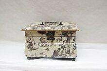 Schmuckkasten Schmuckschatulle Schatulle Truhe vintage eckig Box Schatztruhe Kinder elfenbein