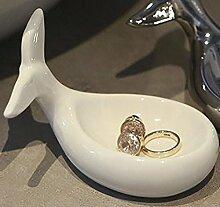 Schmuckschale Wal Keramik weiß 11x8cm Schale