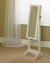 Schmuckschrank mit Spiegel, am Boden stehend, zum Aufbewahren und Organisieren von Schmuckstücken