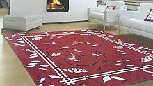 Schmuckset Bettvorleger 3Stück–Teppich Retro 'rot–Chenille mit rutschfestem Untergrund–Dekorieren Sie Ihr Schlafzimmer–maschinenwaschbar–praktisch und bequem