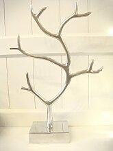 Schmuckständer Schmuckhalter Schmuckbaum Dekobaum Baum Skulpur Deko Aluminium, silber, 50cm Höhe