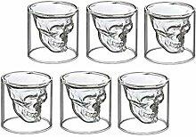 Schnapsglas Totenkopf 6er Set - Shot-Glas Skull