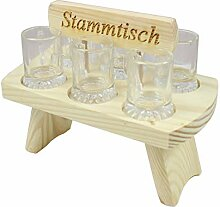 Schnapstablett Schnapsbank aus Holz Tablett inkl 6