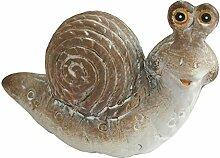 Schnecke Pia aus Keramik creme braun XL 34,5cm x 15,5cm x 24cm Gartendeko Gartenzwerge Gartenfiguren Schnirkelschnecke Bänderschnecke