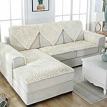 Schnee neil schonbezug sofa,Europäischer stil Plüschsofa slipcover Winterschlupf Leder-sofa-matte Fabric bay window seat dämpfung-Weiß 90x150cm(35x59inch)