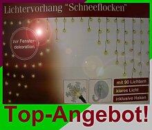 Schneeflocken Lichtervorhang Lichterkette Lichternetz 240 x 135 cm mit 90 Lampen