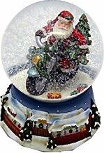 Schneekugel blau Santa/ Motorrad