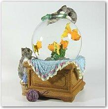 Schneekugel mit Aquarium und Katzen mit Spieluhr