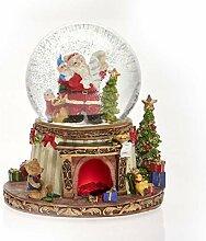 Schneekugel Spieluhr Weihnachtsmann am Kamin, LED
