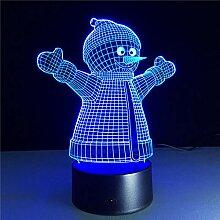 Schneemann 3D Lampe Acryl Nachtlicht für