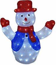 Schneemann Figur aus Acryl mit 80 LED kaltweiß
