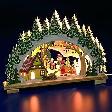 Schneemann und Santa Holz beleuchtet Kerzenbrücke