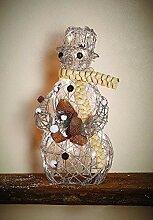 Schneemann Weihnachtsdeko Figur aus Rattan und