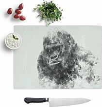 Schneidebrett Silverback Gorilla aus Hartglas