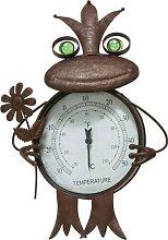 Schneider Gartenfigur Frosch, Thermometer, Rost