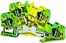 Schneider NSYTRR44DPE Linergy Erdungsklemme, 4mm², Zwei Ebenen, 1x1, Feder, Grün-Gelb