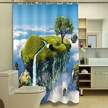 Schnell trocknender Duschvorhang 3D Creative Duschvorhang Polyester Wasserdicht Moldy Badezimmer Trennwand Vorhang Umweltschutzmaterial ( größe : 200*180cm )