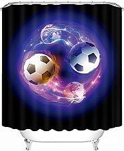 Schnell trocknender Duschvorhang 3D Duschvorhänge Fußball Erde Kreative Digitaldruck Wasserdichte Duschvorhänge Badezimmer Abgeschnitten Polyester Hängen Vorhänge Umweltschutzmaterial ( größe : 180*180cm )