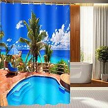Schnell trocknender Duschvorhang Creative 3D Polyester Duschvorhang Schwimmbad Druck Wasserdicht und Schimmel Duschvorhänge Badezimmer Trennwand Vorhang Umweltschutzmaterial ( größe : 180*200cm )