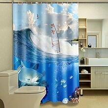 Schnell trocknender Duschvorhang Seaview 3D Personalisierter Duschvorhang Wasserdichter Mildew Polyester Verdickter Badezimmer Trennvorhang Umweltschutzmaterial ( größe : 200*180cm )