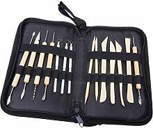 Schnitzwerkzeuge - SODIAL(R) 14 Stueck Tonwarenlehm Skulptur Werkzeuge mit Aufbewahrungskoffer